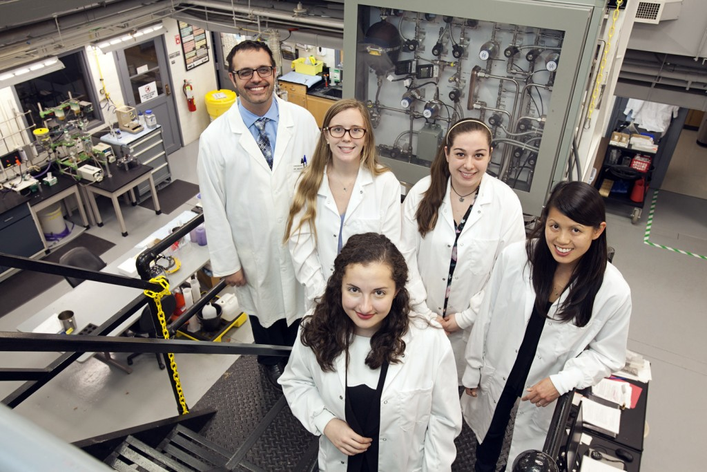 Members of the biodiesel team, Professor Michael Senra, Stephanie McCartney '17, Rachel Elias '17, Rebecca Miller '16 and Professor Lindsay Soh.
