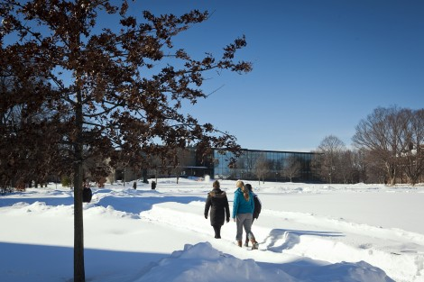Students walk toward Skillman Library.