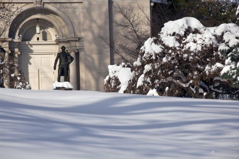 Snow almost covers the base of the Marquis de Lafayette statue on Dan O'Neil Plaza.