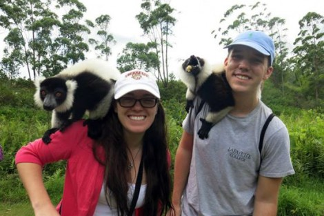 Aubrey Jones '16 and Stavros Kariofillis '17 make some new friends in Madagascar.