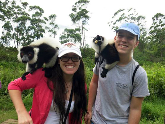 Aubrey Jones '16 and Stavros Kariofillis '17 make some new friends in Madagascar.