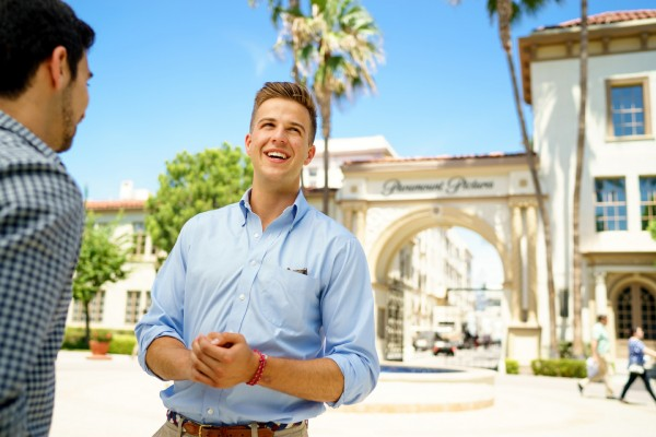 Matthew Mahar '17 on the lot of Paramount Pictures