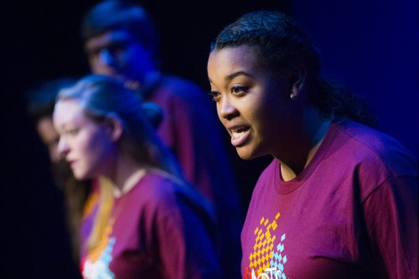 Students perform in the new black box theater in Buck Hall.