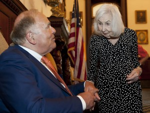 Marciene Mattleman meets with former Philadelphia Mayor Ed Rendell during a ceremony honoring her 50 years of work in education. Photo courtesy of Michael Pronzato, Philadelphia Inquirer.