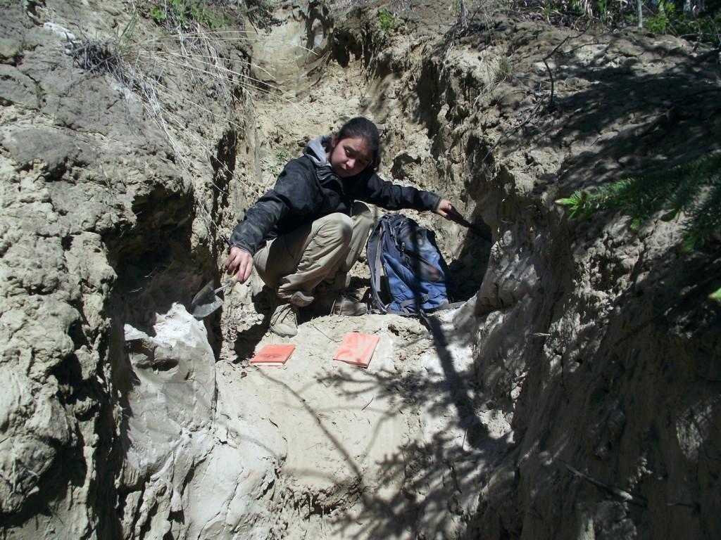 Emma Sosa '17 collects samples of ash in Alaska.