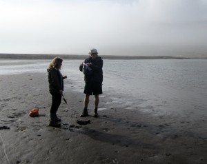 Students take mineral samples in Iceland.