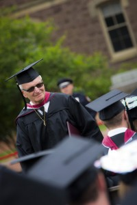 Bud Martin makes his way to the stage to collect his second Lafayette diploma.