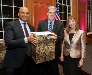 Professor Bill MIles was honored at the annual awards banquet by Provost Abu Rizvi and President Alison Byerly.