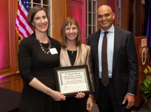 Kristen Sanford Bernhardt, associate professor of civil and environmental engineering, was awarded The B. Vincent Viscomi Engineering Prize for Excellence in Mentoring and Teaching.