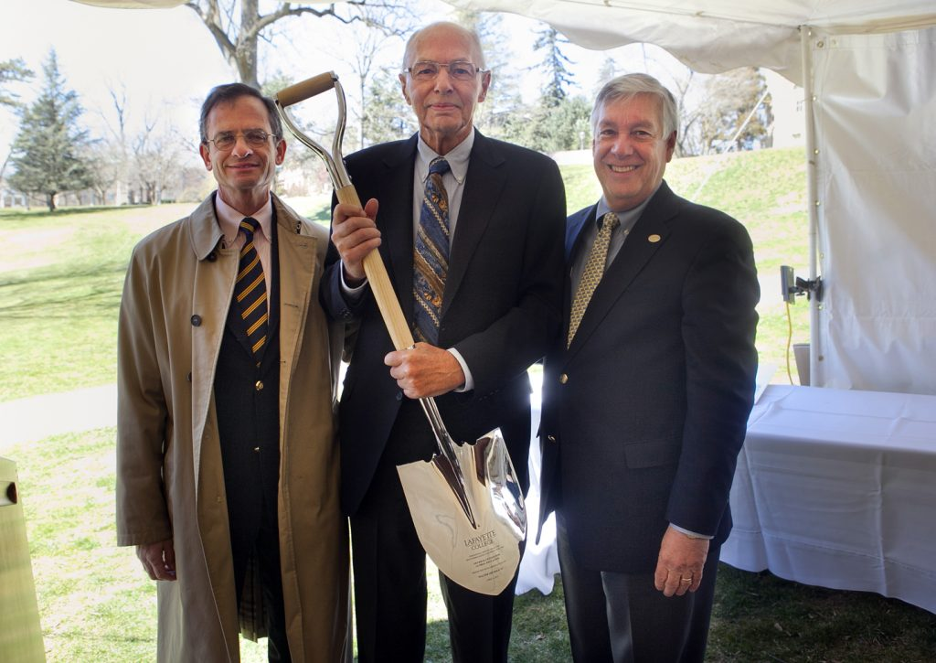 Oechsle at the groundbreaking for the Oechsle Center with former President Daniel Weiss and Edward W. Ahart '69, chair of the Board of Trustees.