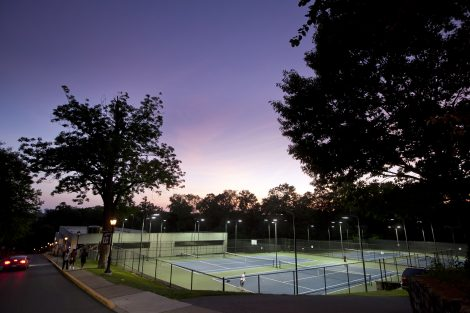 Students play under the lights at Sullivan Courts.