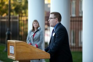 Michael DeLisi '03 speaks at last year's house dedication ceremony.
