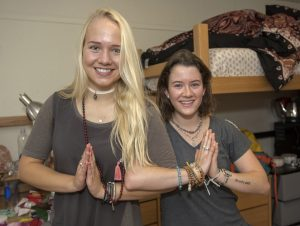 Cecelia Palmquist, left, and Kaila Aguerre are now roommates in McKeen Hall.
