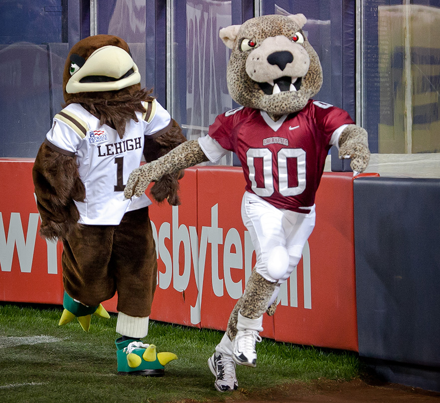 The Leopard wins the mascot race and the Lafayette-Lehigh Giving Challenge. Lafayette dominated Lehigh 27-7 during the 150th game in college football's most-played rivalry. The Leopards extended their series lead to 77-67-5 before a sellout crowd of 48,256 at Yankee Stadium.