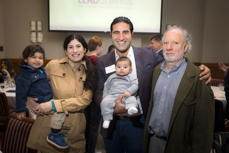Leslie and Alex Karapetian '04 with their children and Jeff Acopian '75. Alex received the Mayfield Award.