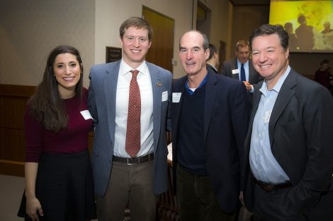 Cara Kennedy; Ian Stone '10, recipient of the Greenip Award; James McLaughlin '76, recipient of the Wilson Distinguished Service Award; and Mitchell Winter '79