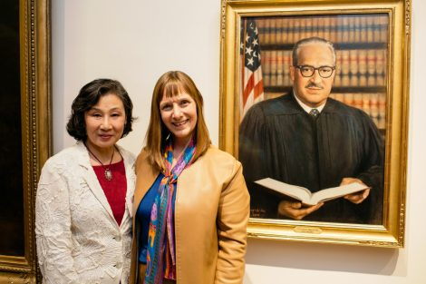 Painter Ying-He Liu and President Byerly with the new portrait