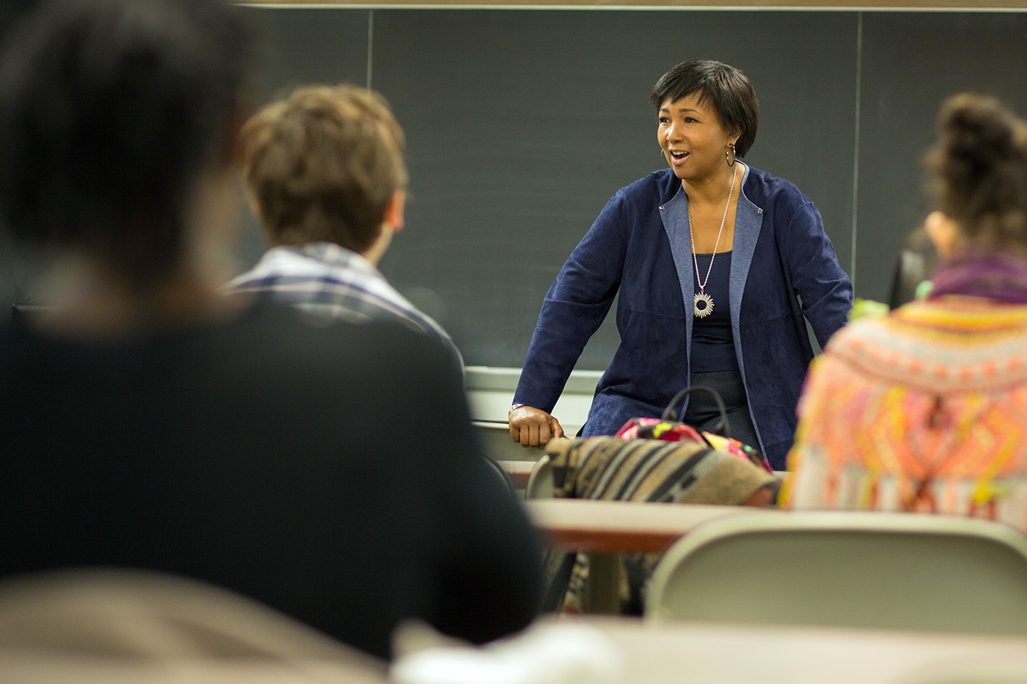 Astronaut Mae Jemison discusses her career with students.