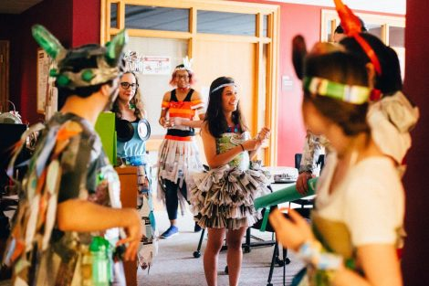 Students participate in a fashion show during Earth Week.