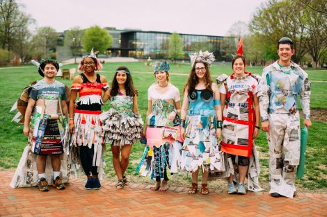 Students participate in a fashion show during Earth Week