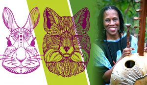 Storyteller Charlotte Blake Alston with renderings of a rabbit and a fox