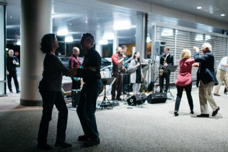 Alumni dance to live music at the Arts Campus.