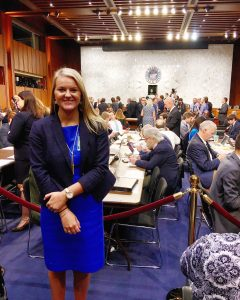 Haley Matthes '19 stands in the Senate hearing room
