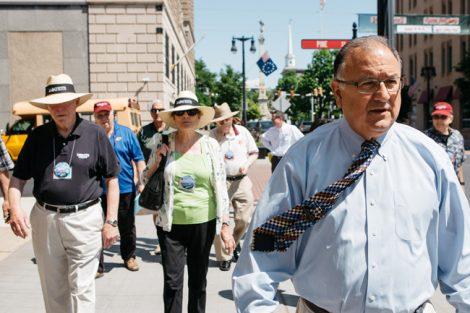 Mayor Sal Panto gives alumni a tour of downtown Easton.