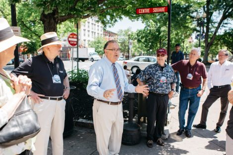 Mayor Sal Panto gives alumni a tour of downtown Easton.