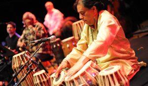Sachal Jazz Ensemble members play drums