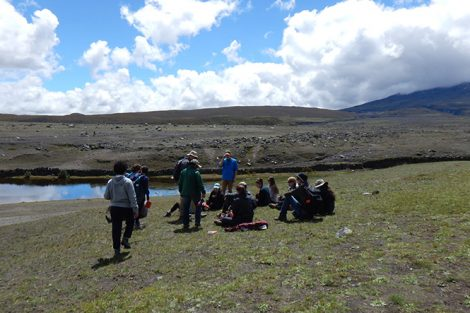 The natural landscape serves as a lecture space for geology professor David Sunderland and students in the valley of Cotopaxi Volcano in Ecuador. Submitted by Emily LoPiccolo '19