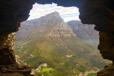 A view of Table Mountain from within Wally's Cave on the Lion's Head trail in South Africa. Submitted by Melissa Last '17