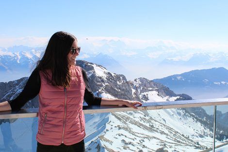 Jessica Ackendorf '19 in the Swiss Alps at the top of Mount Pilatus in Lucerne, Switzerland. Submitted by Jessica Ackendorf '19