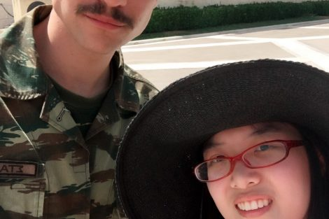Dawei Zhang '18 and a Greek soldier in front of Syntagma Square, Athens. Submitted by Dawei Zhang '18