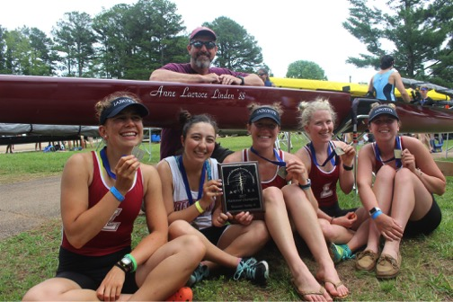 They are the champions: (l-r): Nicole Harry '19, Julia DeFranco '17, Carolyn McDonough '18, Rachel Marbaker '19, and Emily Smith '18, led by head coach Rick Kelliher, named the ACRA Women's Coach of the Year for the Mid-Atlantic Region. The women race the Anne Lacroce Linden '88 in memory of the coxswain of the women's lightweight 4 of 1988. The five-year-old boat has won more medals than any other in Lafayette history.