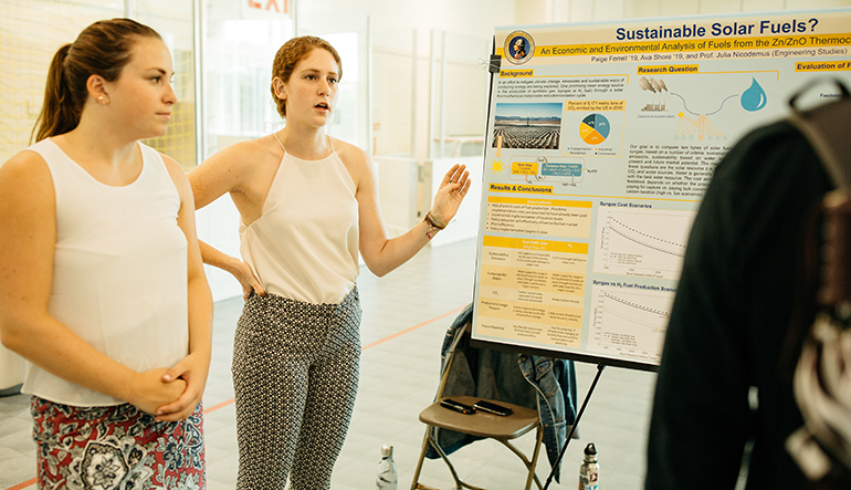Paige Ferrell '19, Ava Shore '19, and Julia Nicodemus, assistant professor of engineering studies, focused on the sun over the summer to research the possibilities of creating a fuel made through a solar thermochemical process. One method involves converting carbon dioxide and water into syngas, which can be used directly for home heating or at traditional, fossil fuel-burning power plants, and to produce liquid hydrocarbon fuels for transportation.