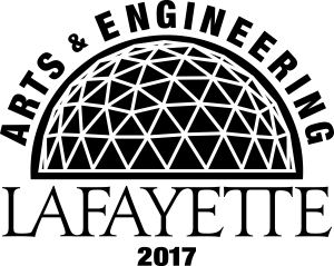 "A drawing of a geodesic dome with ""Arts and Engineering, Lafayette 2017"" with in"