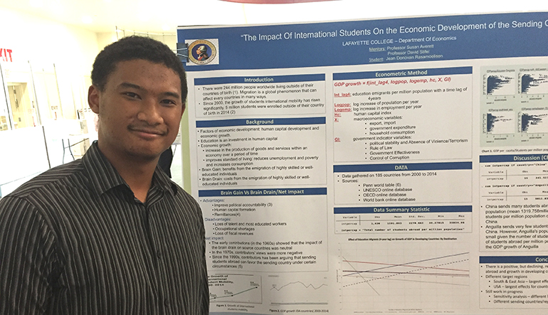There is a positive economic development impact on home countries of international students who study and possibly live abroad. What surprised Donovan Rasamoelison '19 was that the measurement scaled to the population of the country. So if fewer students were overseas as compared to the population, the impact was negative.