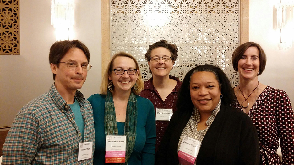 "Faculty members involved with the college's Inclusive STEM initiative attended the AACU conference on ""transforming STEM in higher education"" in San Francisco November 2-4. Pictured from left: Bob Kurt (biology), Jenn Stroud Rossmann (mechanical engineering), Mary Armstrong (women's and gender studies), Chawne Kimber (math), and Kristen Sanford Bernhardt (environmental engineering and studies)."