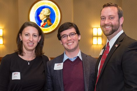 Assistant Vice President of Development and Donor Engagement Jennifer Rock, Matthew Grandon '12, and Senior Director of Annual and Leadership Giving Chad Davis