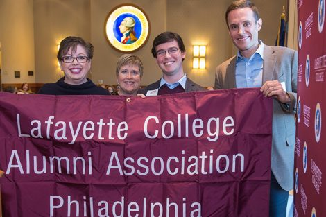 Ellen Poriles Weiler '83, Alumni Relations Executive Director Rachel Nelson Moeller '88, Matthew Grandon '12, and Alumni Association President Elect Jonathan Ellis '98