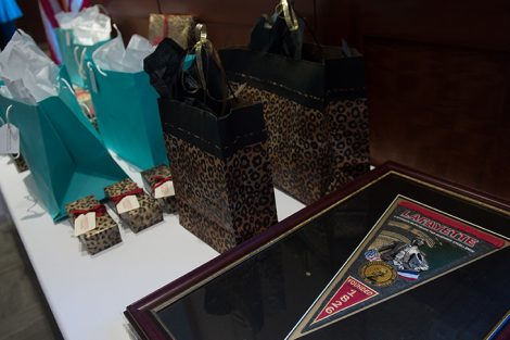 Gifts on a table to be given to volunteer award recipients