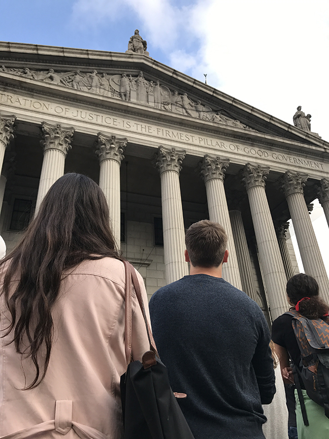 The class looks at classical architecture in Foley Square, New York City.