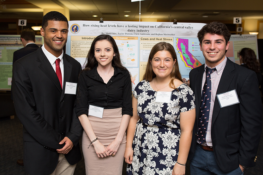 Standing in front of their poster are Rajhan Meriwether '18 (economics), Shuli Eder '20 (environmental engineering), Taylor Danson '20 (environmental engineering), Chris Ambrosio '20 (engineering studies)