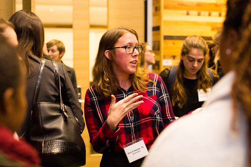 Erin D'Amelio '13 speaks with students during a networking period.