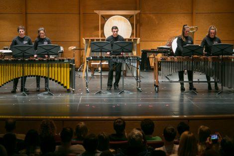 Lafayette Drum Ensemble performs on stage at Williams Center for the Arts