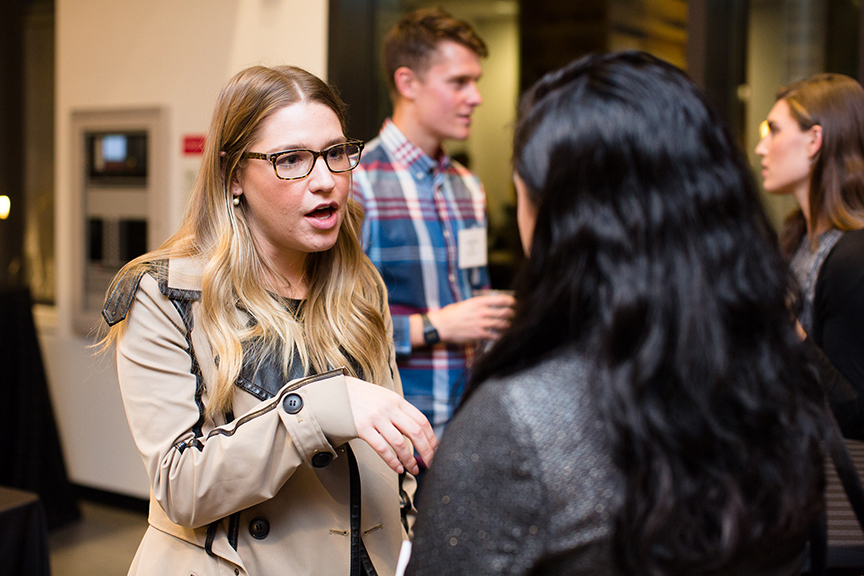 Missy Chehi '12 speaks with a student during a networking time.