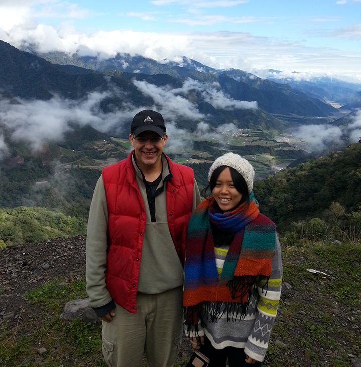Paul Barclay with an indigenous woman in a mountainous region of Taiwan