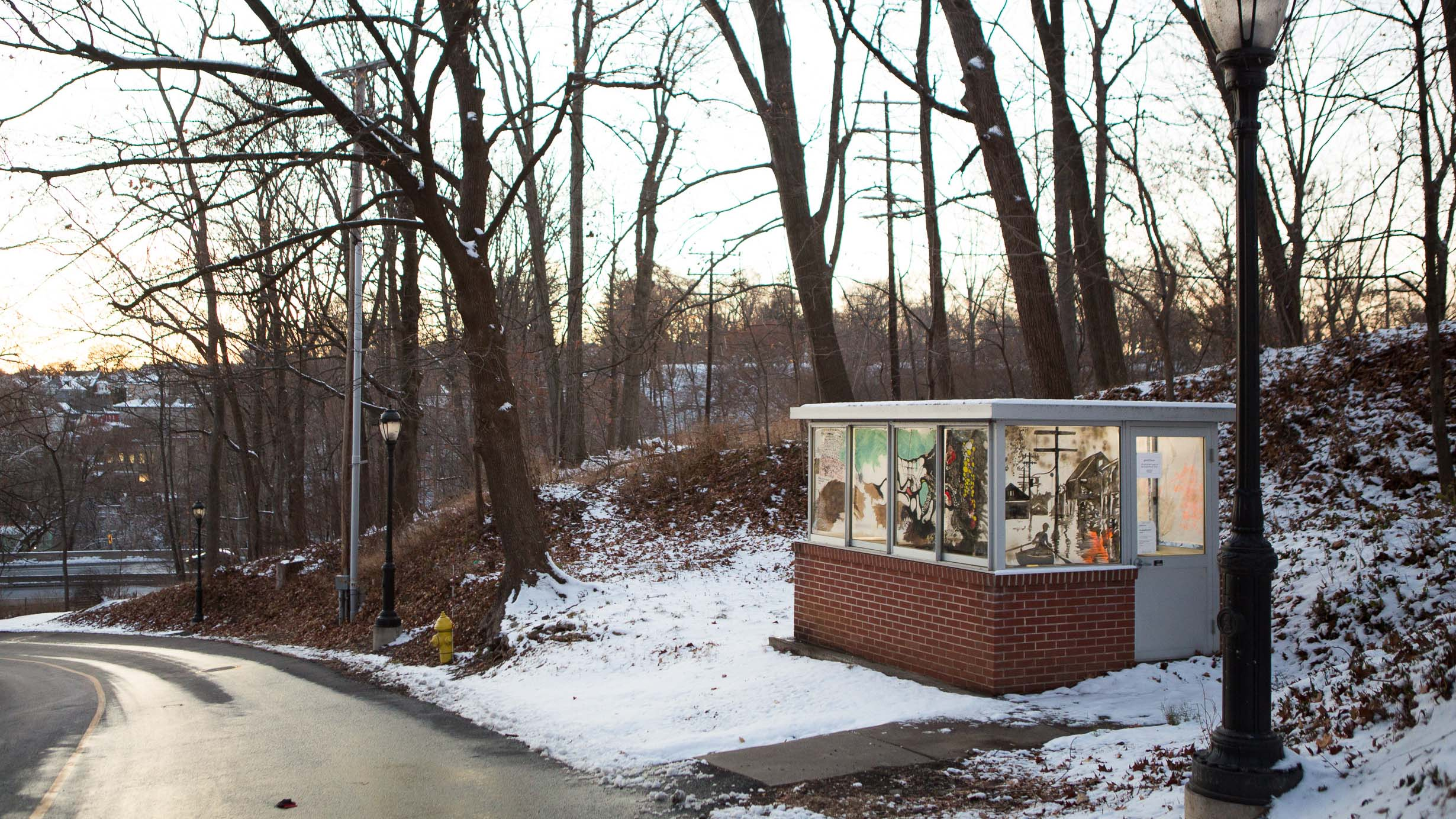 An exterior view of guardehouse, a former security shack turned art exhibit space
