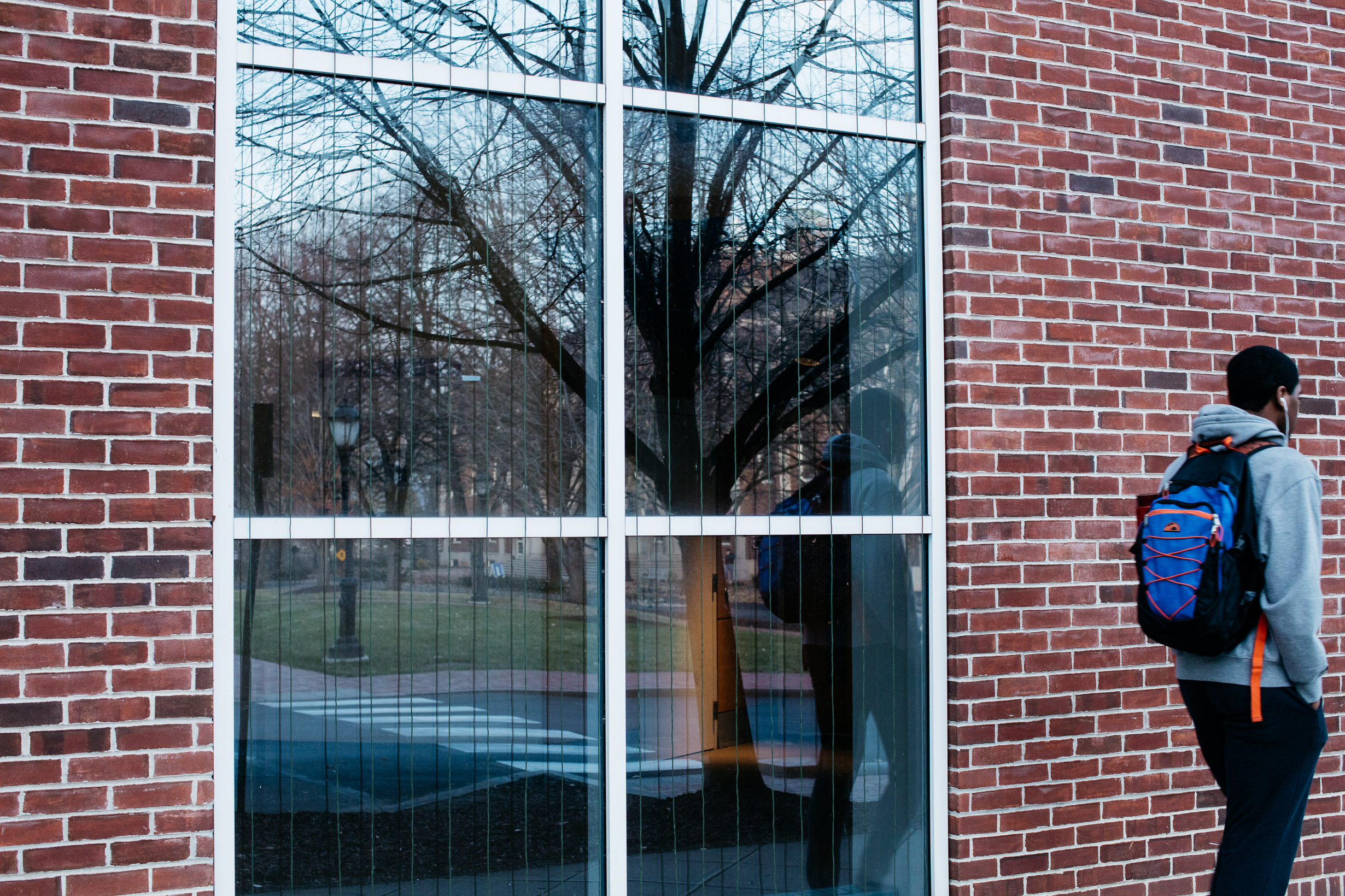 A male student walks past a window of Hugel Science Center, which has cords on it to discourage birds from crashing into it.